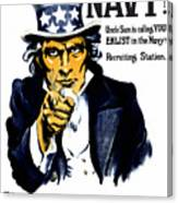 Uncle Sam Wants You In The Navy Canvas Print