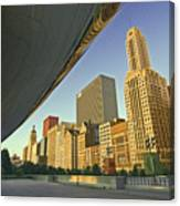 Under The Bean And Chicago Skyline Canvas Print