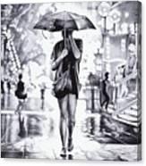 Under The Umbrella - Ballpoint Pen Art Canvas Print