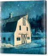 Under The Vermont Moonlight Watercolor Canvas Print