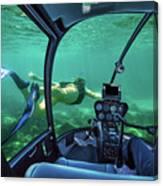 Underwater Submarine Woman Canvas Print