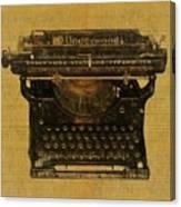 Underwood Typewriter On Text Canvas Print