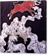 Unicorn And Red Bull Canvas Print