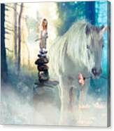 Grumpy Fairy with Unicorn Canvas Print