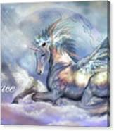 Unicorn Of Peace Card Canvas Print