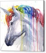 Unicorn Rainbow Watercolor Canvas Print