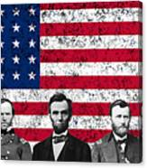 Union Heroes And The American Flag Canvas Print