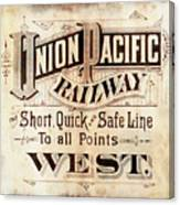 Union Pacific Railroad - Gateway To The West  1883 Canvas Print