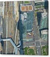 Union Station Train Yard Toronto From The Cn Tower Canvas Print