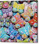 Unique Colorful Honey Cookies , Butterfly Shaped  Canvas Print
