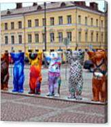United Buddy Bear Statues At Helsinkis Senate Square Canvas Print