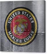 United States Marines Logo On Riveted Steel Canvas Print