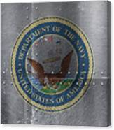United States Navy Logo On Riveted Steel Boat Side Canvas Print