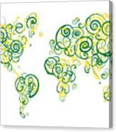 University Of Alberta Colors Swirl Map Of The World Atlas Canvas Print
