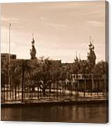 University Of Tampa With River - Sepia Canvas Print