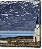 Unjarga-nesseby Church In Arctic Norway Canvas Print