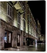 Up Lighting On A European Building At Night  Canvas Print