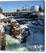 Upper Falls Winter - Spokane Canvas Print