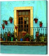 Upper Window In Turqoise Canvas Print