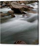 Upturned Rock In A Flowing Stream Canvas Print