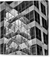 Urban Abstract - Mirrored High-rise Building In Black And White Canvas Print