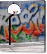 Urban Basketball Hoop Inner City Innercity Wall And Asphalt In O Canvas Print