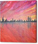 Urban Cityscapes In Twilight Canvas Print