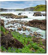 Urridafoss Waterfall And River Pjorsa In Iceland Canvas Print