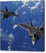 U.s. Air Force F-22 Raptors In Flight Canvas Print