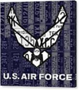 Us Air Force Logo Recycled Vintage License Plate Art Canvas Print
