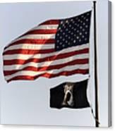 Us And Pow-mia Flags Canvas Print
