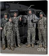 U.s. Army Crew Chiefs Pose In Front Canvas Print