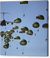 U.s. Army Paratroopers Jumping Canvas Print