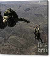 U.s. Army Soldiers Conduct A Halo Jump Canvas Print