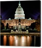 Us Capitol Building And Reflecting Pool At Fall Night 3 Canvas Print