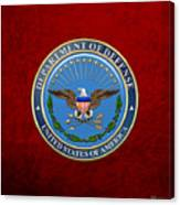 U. S. Department Of Defense - D O D Emblem Over Red Velvet Canvas Print