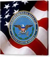 U. S. Department Of Defense - D O D Emblem Over U. S. Flag Canvas Print