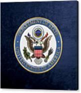U. S. Department Of State - D O S Emblem Over Blue Velvet Canvas Print