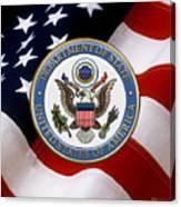 U. S. Department Of State - Dos Emblem Over U.s. Flag Canvas Print