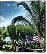 US Flag in the Abaco Islands, Bahamas Canvas Print