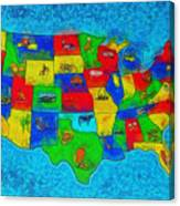 Us Map With Theme  - Special Finishing -  - Pa Canvas Print