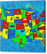 Us Map With Theme  - Van Gogh Style -  - Pa Canvas Print