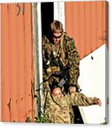 U.s. Marine Drags An Injured Patient Canvas Print