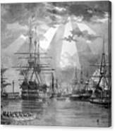U.s. Naval Ships At The Brooklyn Navy Yard Canvas Print