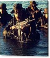 Us Navy Seal Team Emerges From Water Canvas Print