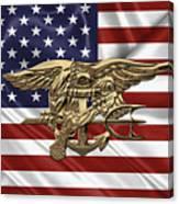 U.s. Navy Seals Trident Over U.s. Flag Canvas Print