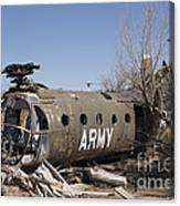 U.s. Soldier Inspects The Wreckage Canvas Print