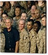 Us Soldiers Gather Around President Canvas Print
