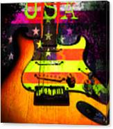 Usa Strat Guitar Music Canvas Print