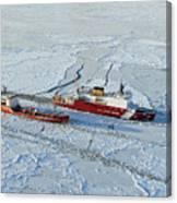 Uscg Healy Breaks Ice Canvas Print